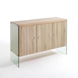 Mobiletto dispensa per cucina moderna in legno e vetro Jarrett