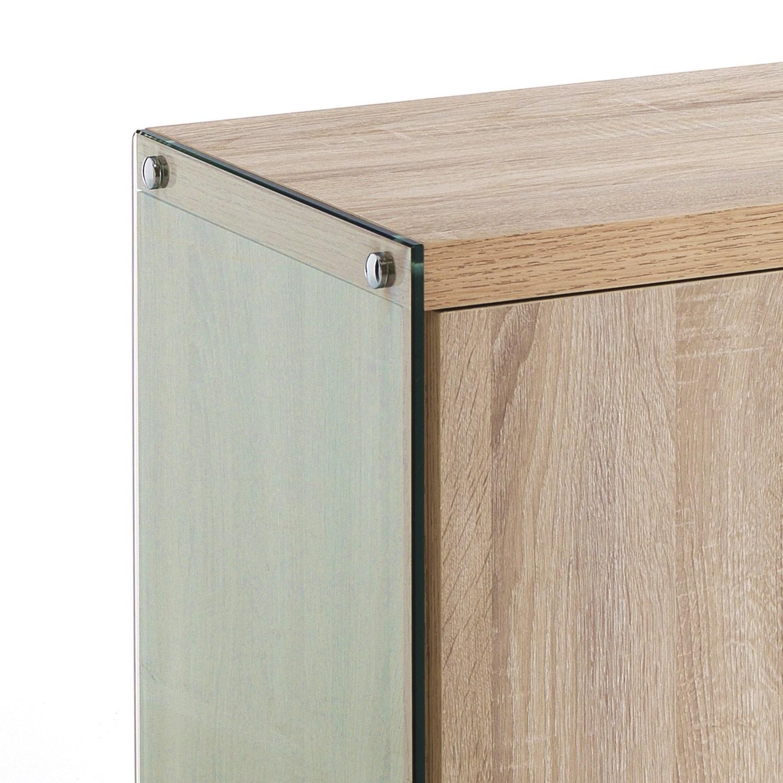 Mobiletto dispensa per cucina in legno e vetro Jarrett