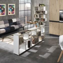 Libreria moderna a giorno in legno bianco e rovere Olyak