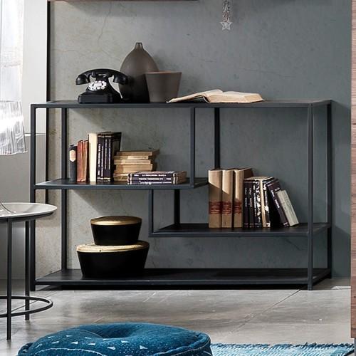 Libreria design moderno in metallo e legno Effreu Black