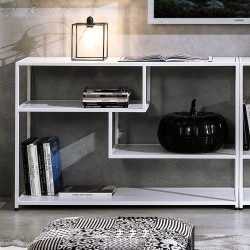 Libreria moderna in metallo e legno massello Effreu White