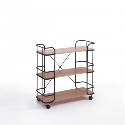 Libreria con ruote in metallo e legno Indikat