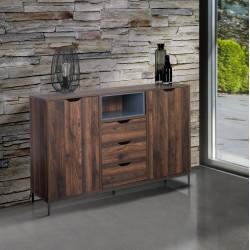 Madia moderna mobile in legno noce e grigio Ureka3