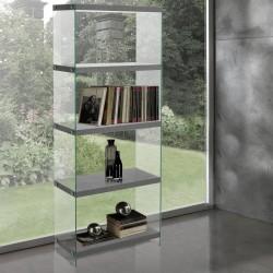 Libreria arredamento design moderno in vetro e legno Nautilia