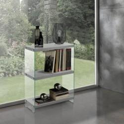 Libreria arredamento moderna in legno e vetro Nautilia-2