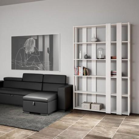 Libreria lineare a muro moderna Inedditah E-Small finitura BIANCO FRASSINO