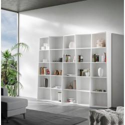 Libreria autoportante a parete in legno Deducha 5 finitura BIANCO FRASSINO