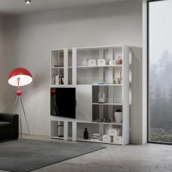 Libreria con porta tv per salotto Inedditah H finitura BIANCO FRASSINO