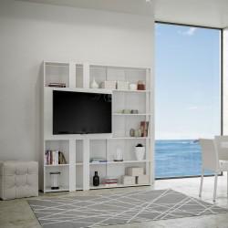 Libreria design in legno con porta tv Inedditah L finitura BIANCO FRASSINO