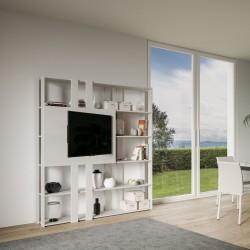 Mobile tv libreria design moderno in legno Inedditah N finitura BIANCO FRASSINO