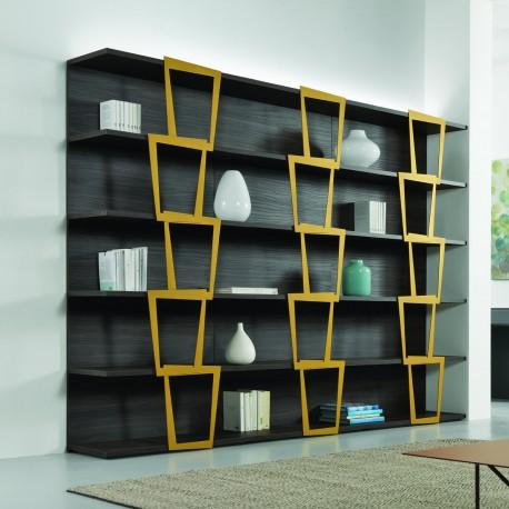 Libreria a giorno design moderno in legno e acciaio Trapezio