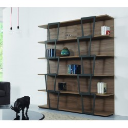 Libreria design moderno in legno e acciaio Trapezio