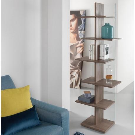 Libreria a colonna moderna per salotto Step finitura NOCE