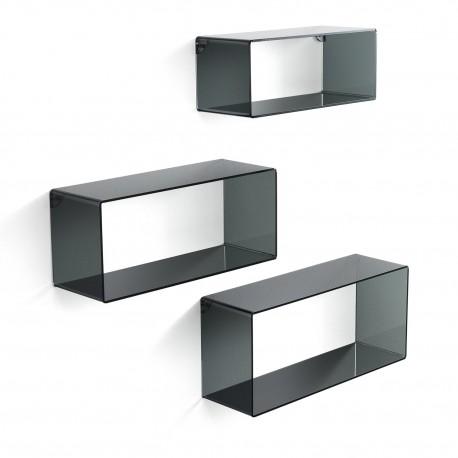 Set 3 mensole da parete in plexiglass nero KleverB