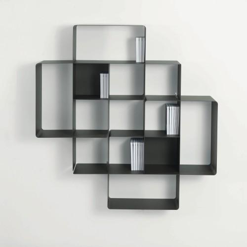 Libreria da muro componibile in metallo portata 140 kg Mondrian-2A