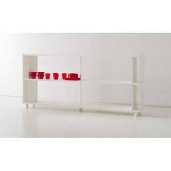 Scaffale modulare P-A2 in legno bianco per ufficio 200x30x90 cm