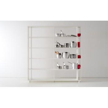 Scaffale moderno per ufficio P-A5 in legno bianco 200x30x210 cm