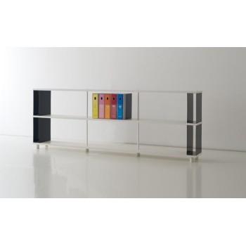 Libreria modulare per ufficio P-B2 in melaminico bianco 250x30x90 cm