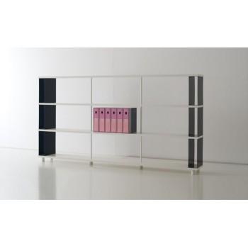 Scaffale per arredamento ufficio P-B3 in legno bianco 250x30x130 cm