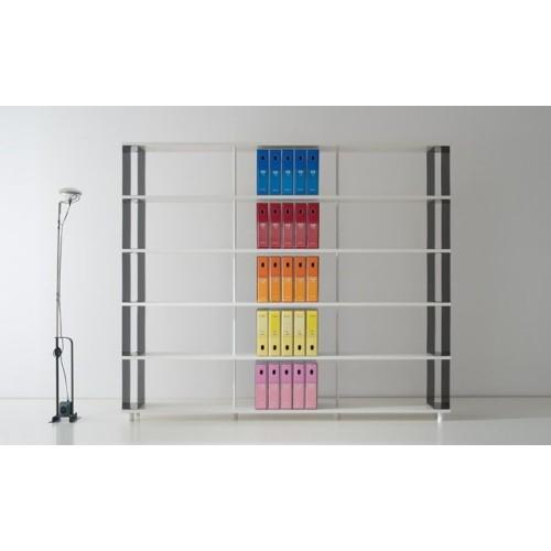 Libreria scaffale moderna P-B5 a 5 ripiani in legno 250x30x210 cm