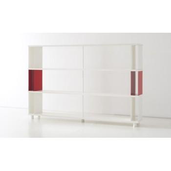 Scaffale moderno P-AC3 in legno con box metallici 200x30x130 cm