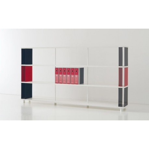 Libreria da parete P-BC3 in legno a 3 ripiani 250x30x130 cm