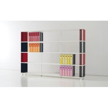 Libreria bifacciale P-BC4 per ufficio in legno e metallo 250x30x170 cm