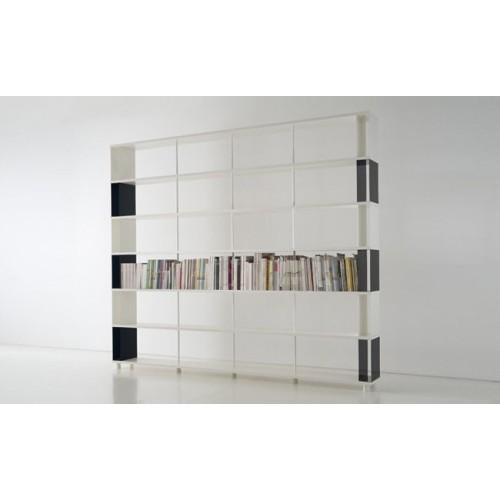 Libreria p cc6 divisoria per ambienti in legno e metallo 300x30x250 cm - Libreria divisoria con porta ...