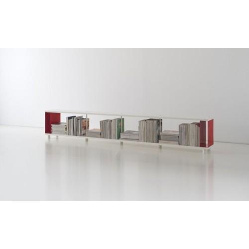 Scaffale modulare P-C1 in legno melaminico bianco 300x30x50 cm