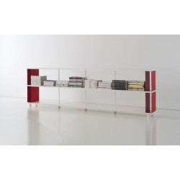Libreria componibile in legno P-C2 con box in metallo 300x30x90 cm