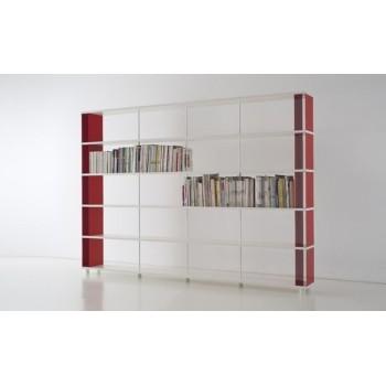 Libreria separa ambienti P-C5 in legno bianco 300x30x211 cm