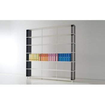 Scaffalatura componibile P-B6 per ufficio a 6 ripiani 250x30x250 cm