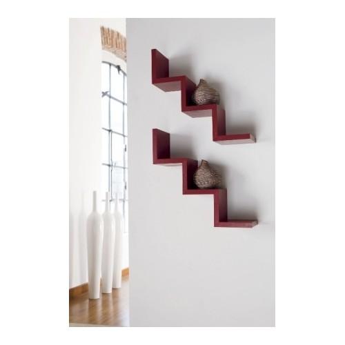 Mensola da parete laddy a gradino in legno design moderno for Mensole da muro