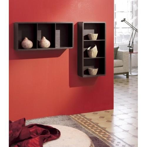 Teca moderna Show Me in legno a tre vani Wenghè Bianco per collezionismo