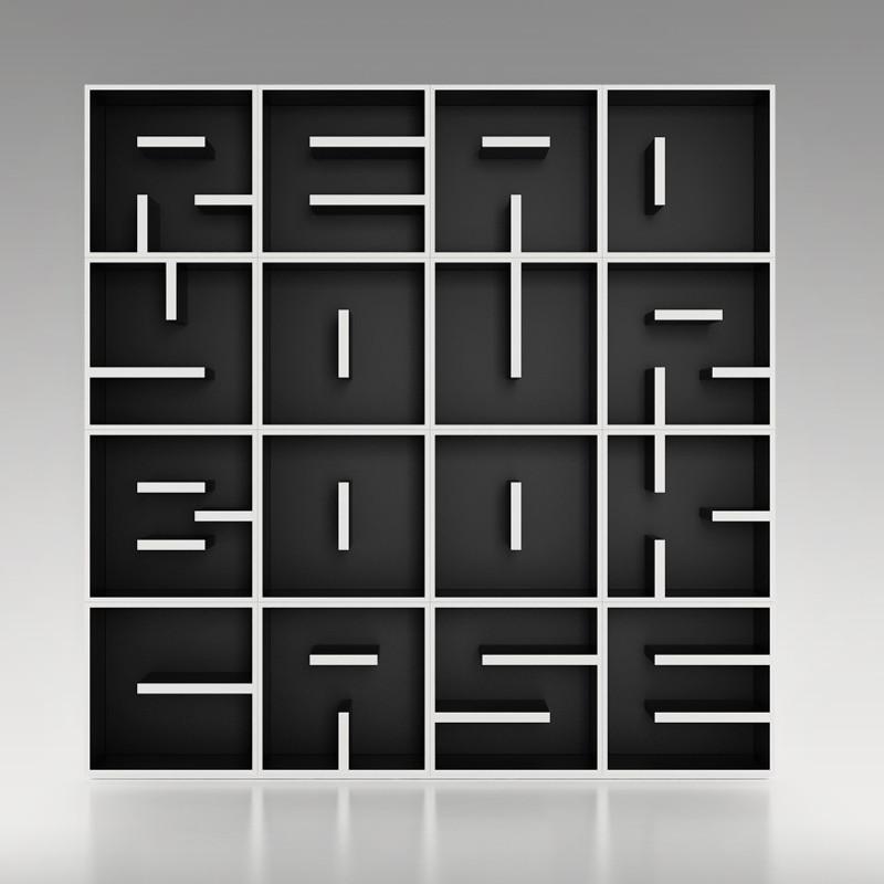 ABC cubo libreria componibile a forma di lettera 51 x 51 cm