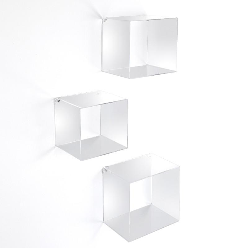 KleverQ set di 3 cubi quadrati da parete in acrilico