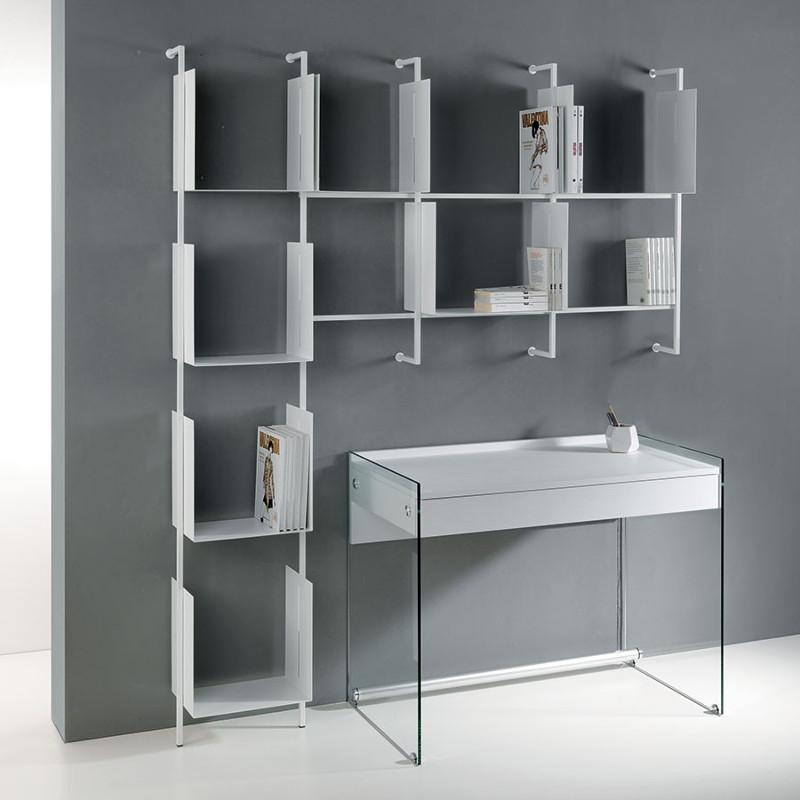 Libreria Libra comp-25 da muro design moderno in acciaio