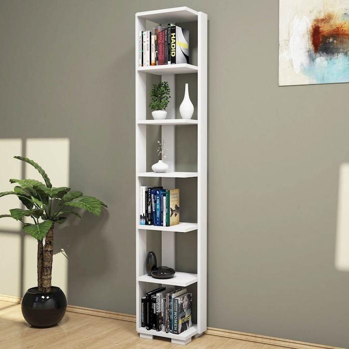 Libreria angolare verticale in legno Benny