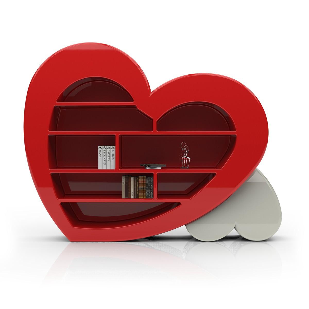 Libreria da parete Cuore bianco rosso nero