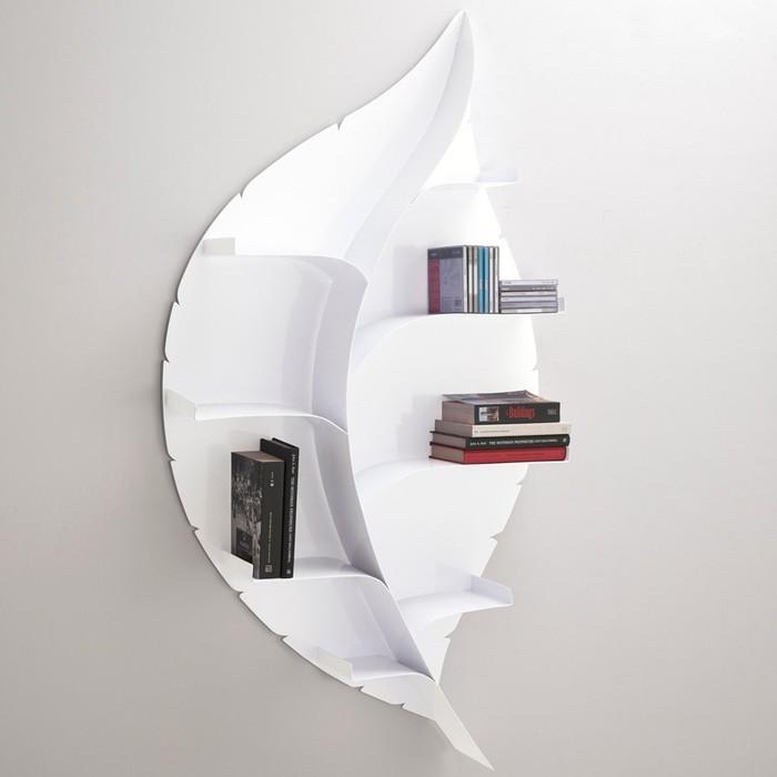 Libreria Foglia in acciaio colore bianco