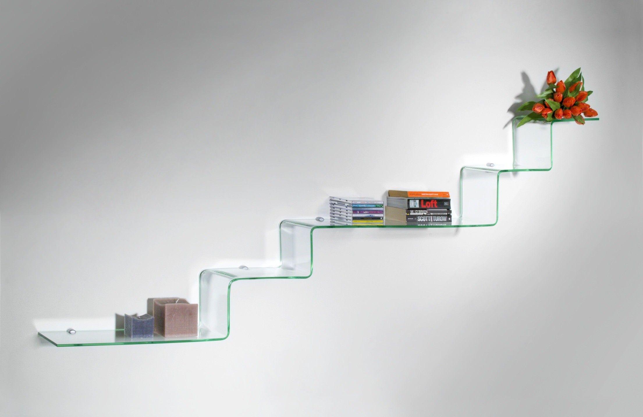 Mensola a gradini in vetro Step